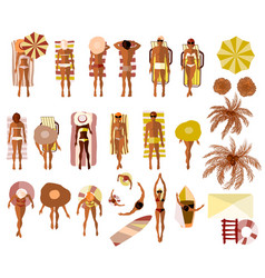 Set of sunbathing people on the summer beach vector