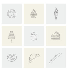 set with food desserts flour for print vector image