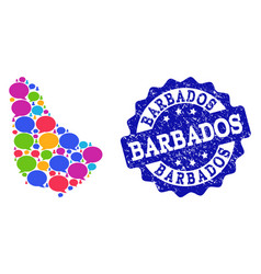 Social network map of barbados with talk bubbles vector