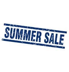 Square grunge blue summer sale stamp vector