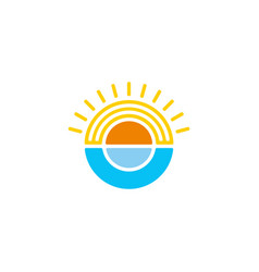 sun and ocean circle geometric colorful logo vector image