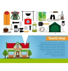 Tourist shop Tourism equipment tools for hiking vector image