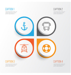 Transport icons set collection of college vector