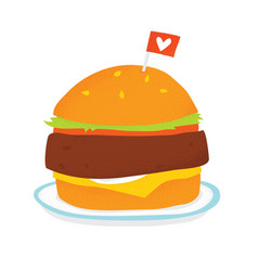 vegan burger on a plate isolated vector image