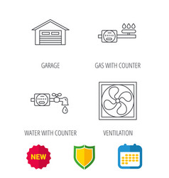 ventilation garage and water counter icons vector image