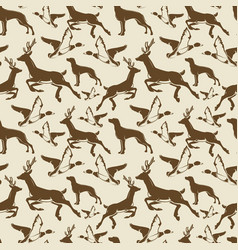 Vintage seamless pattern ducks deers vector