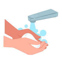 washing hands with soap personal hygiene and care vector image