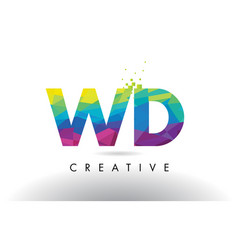 wd w d colorful letter origami triangles design vector image