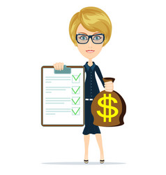 Woman in suit manager or agent shows a document vector