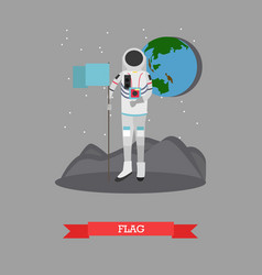 astronaut with flag in flat vector image vector image
