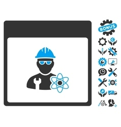 Atomic engineer calendar page icon with vector