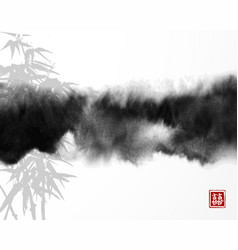 bamboo and abstract black ink wash painting vector image