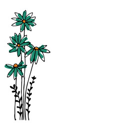 design of hand drawn doodle flowers set on white vector image vector image