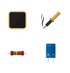 Flat icon electronics set of cpu resistance vector