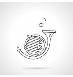 French horn flat line icon vector image vector image