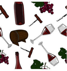 hand drawn pattern of wine vector image