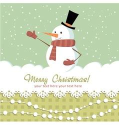 Snowman card green vector