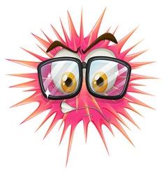Thorny ball wearing eyeglasses vector