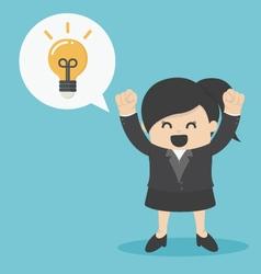 Business Woman get the idea happy vector image vector image
