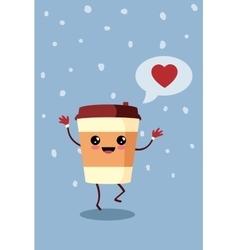 Cartoon comic coffee paper cup vector image vector image