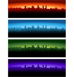 cityscape at different time of the day vector image vector image