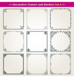Decorative square frames and borders set 4 vector
