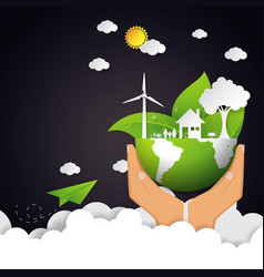 Eco and nature concept with green earth vector