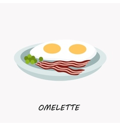 Scrambled eggs with fried bacon on a plate vector image vector image