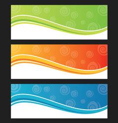 Set of wave background banner or header vector image