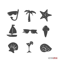 Summer time design icons elements in hand drawn vector image
