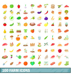 100 farm icons set cartoon style vector image vector image