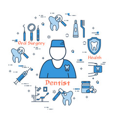 blue round banner - male dentist doctor vector image vector image