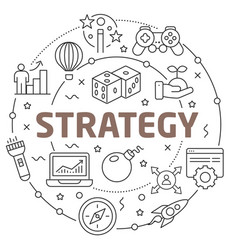 line flat circle strategy vector image vector image