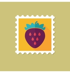 Strawberry flat stamp with long shadow vector image vector image
