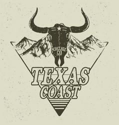 Western logo with bull head vector