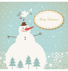 christmas card with cute snowman with bird vector image vector image