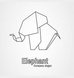 origami logo contour elephant vector image vector image