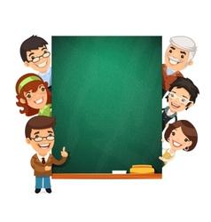 Teachers Presenting Empty Chalkboard vector image vector image