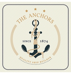 Vintage nautical anchor and tied rope label vector