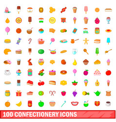 100 confectionery icons set cartoon style vector
