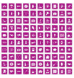 100 donation icons set grunge pink vector