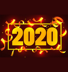 2020 happy new year greeting with gold confetti vector