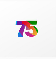 75 years anniversary celebration elegant color vector