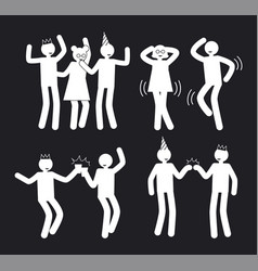 amusement people poses set white pictograms vector image