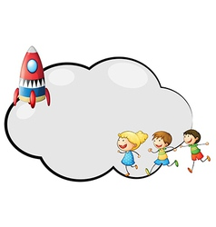 An empty cloud template with kids and a rocket vector image