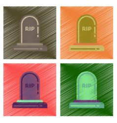 Assembly flat shading style icons halloween grave vector