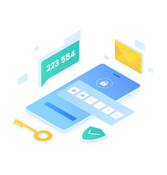 Authentication code isometric style vector
