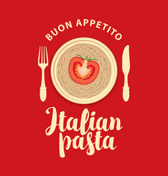 banner or menu with italian pasta and vector image