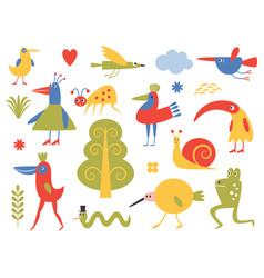 Birds and bizarre creatures vector