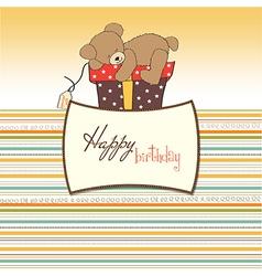 Birthday greeting card with teddy bear and big vector